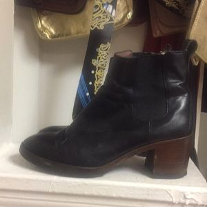 """Madewell Black Leather Boots Size 8.5 2.5"""" heel"""